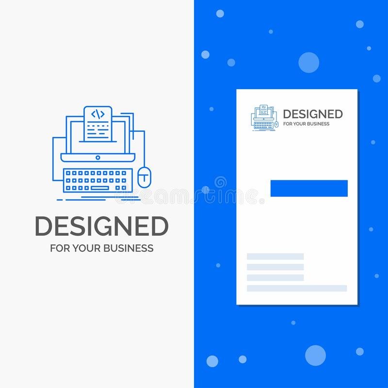 Business Logo for Code, coding, computer, monoblock, screen. Vertical Blue Business / Visiting Card template. Vector EPS10 Abstract Template background vector illustration