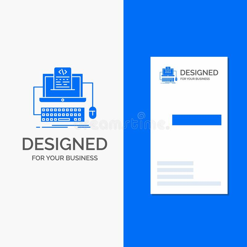 Business Logo for Code, coding, computer, monoblock, screen. Vertical Blue Business / Visiting Card template. Vector EPS10 Abstract Template background stock illustration