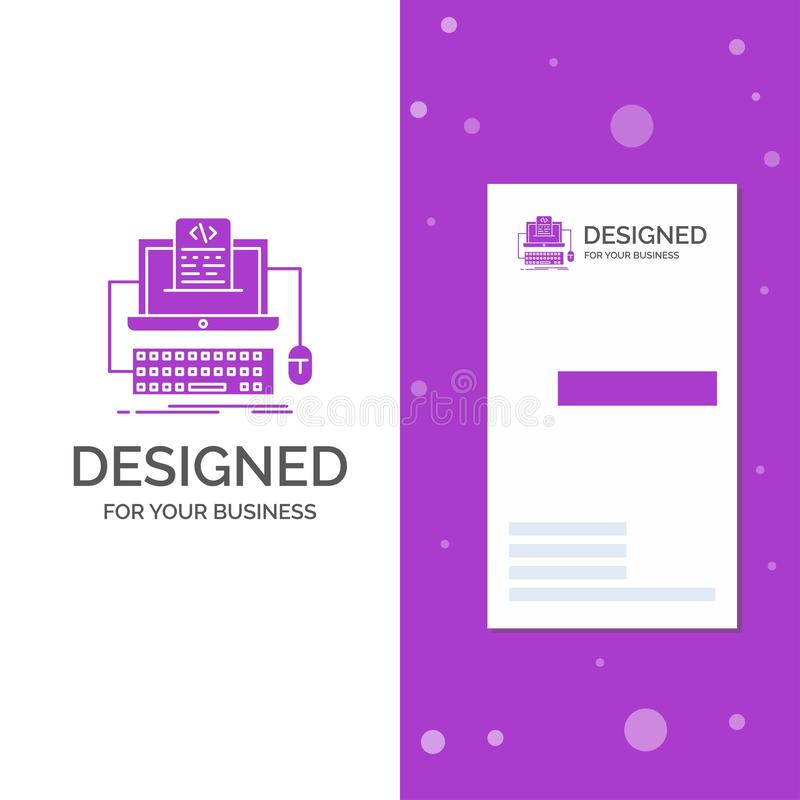 Business Logo for Code, coding, computer, monoblock, screen. Vertical Purple Business / Visiting Card template. Creative. Background vector illustration. Vector royalty free illustration