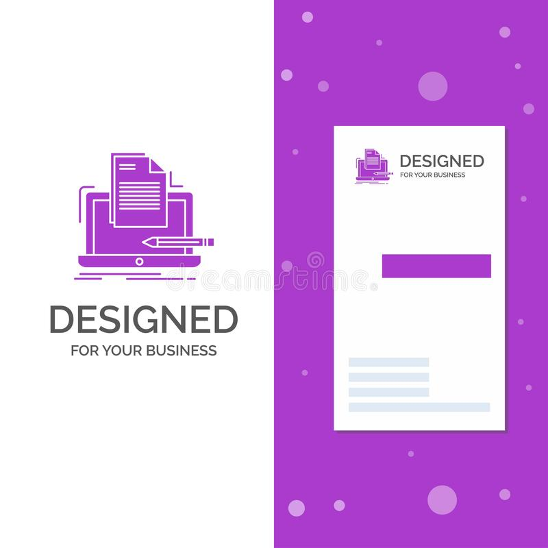 Business Logo for Coder, coding, computer, list, paper. Vertical Purple Business / Visiting Card template. Creative background vector illustration