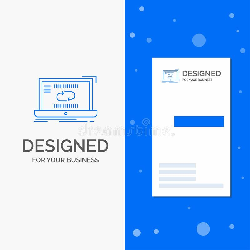Business Logo for Communication, connection, link, sync, synchronization. Vertical Blue Business / Visiting Card template royalty free illustration