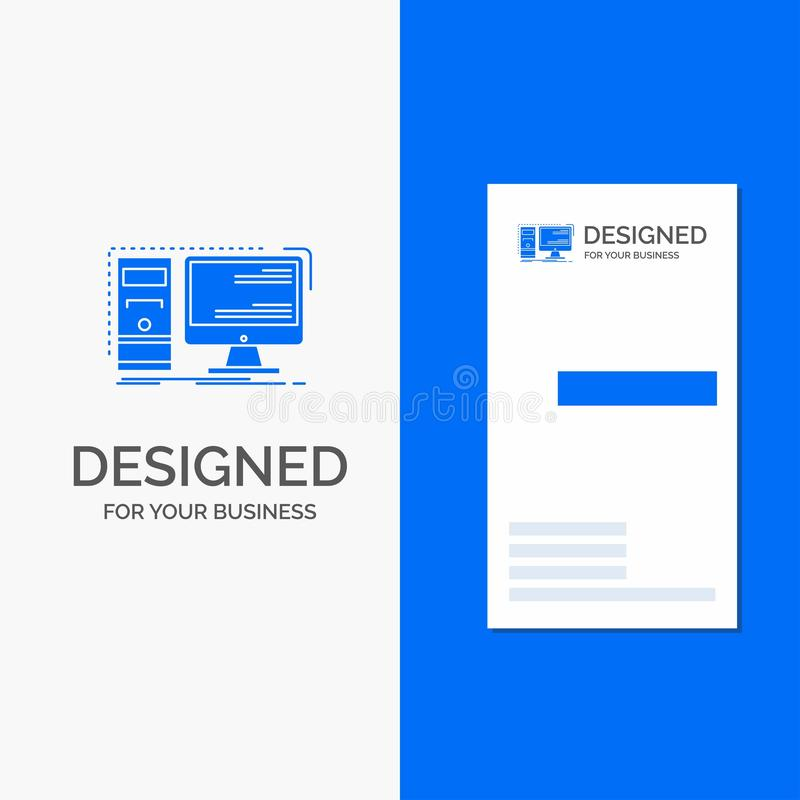 Business Logo for Computer, desktop, hardware, workstation, System. Vertical Blue Business / Visiting Card template royalty free illustration