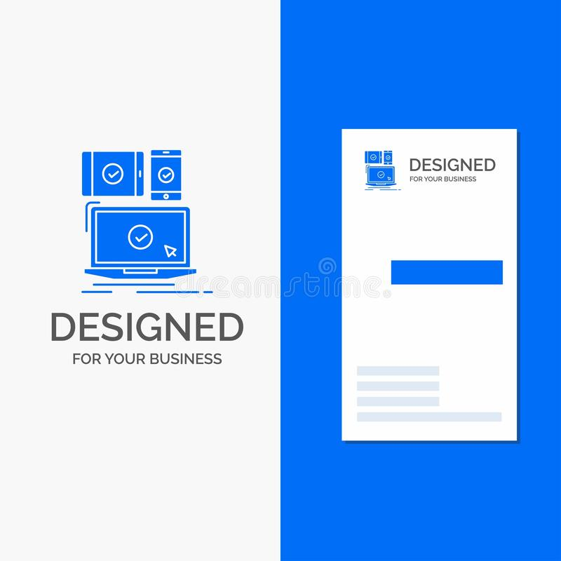 Business Logo for computer, devices, mobile, responsive, technology. Vertical Blue Business / Visiting Card template royalty free illustration