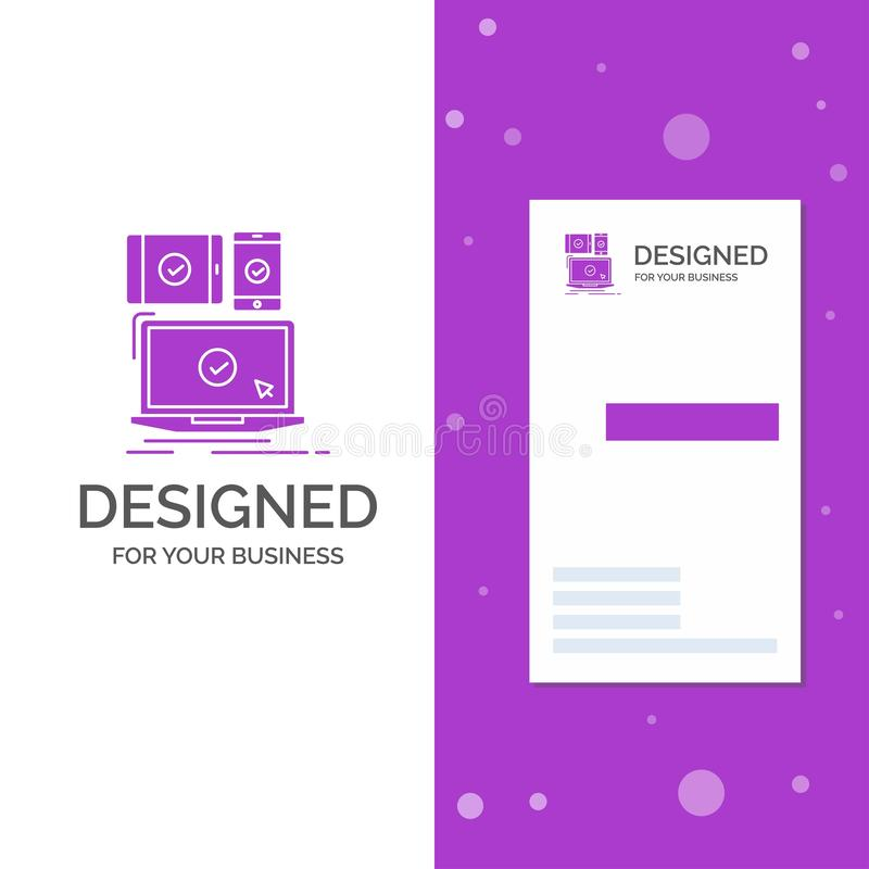 Business Logo for computer, devices, mobile, responsive, technology. Vertical Purple Business / Visiting Card template. Creative. Background vector illustration royalty free illustration