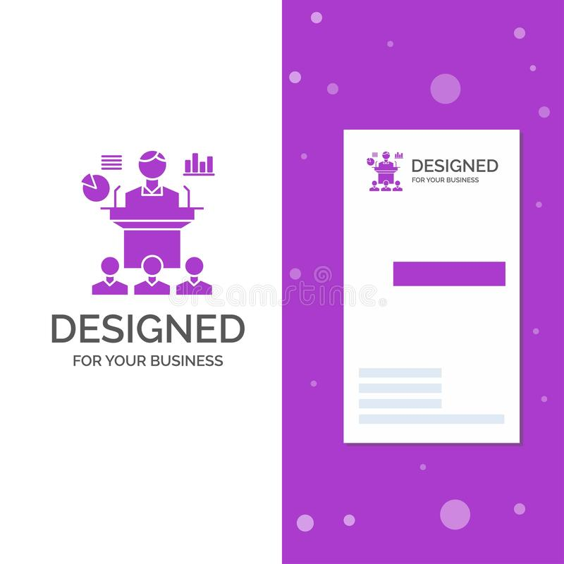 Business Logo for Business, conference, convention, presentation, seminar. Vertical Purple Business / Visiting Card template. Creative background vector royalty free illustration