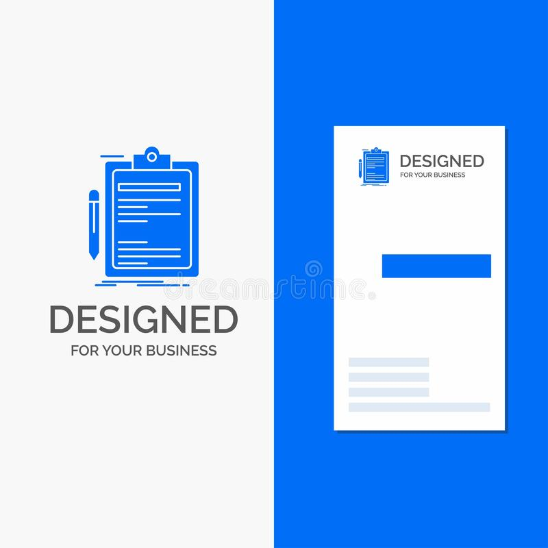Business Logo for Contract, check, Business, done, clip board. Vertical Blue Business / Visiting Card template stock illustration