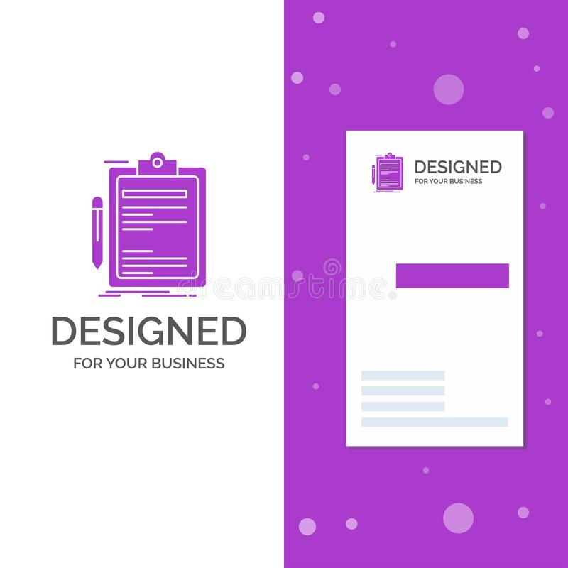 Business Logo for Contract, check, Business, done, clip board. Vertical Purple Business / Visiting Card template. Creative. Background vector illustration stock illustration