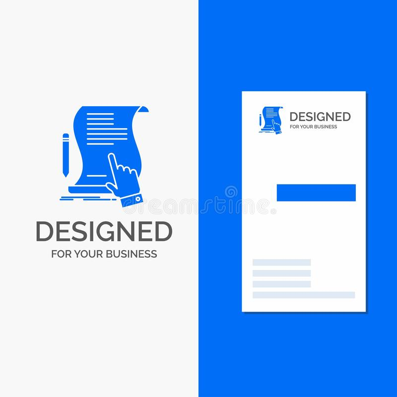 Business Logo for contract, document, paper, sign, agreement, application. Vertical Blue Business / Visiting Card template. Vector EPS10 Abstract Template vector illustration