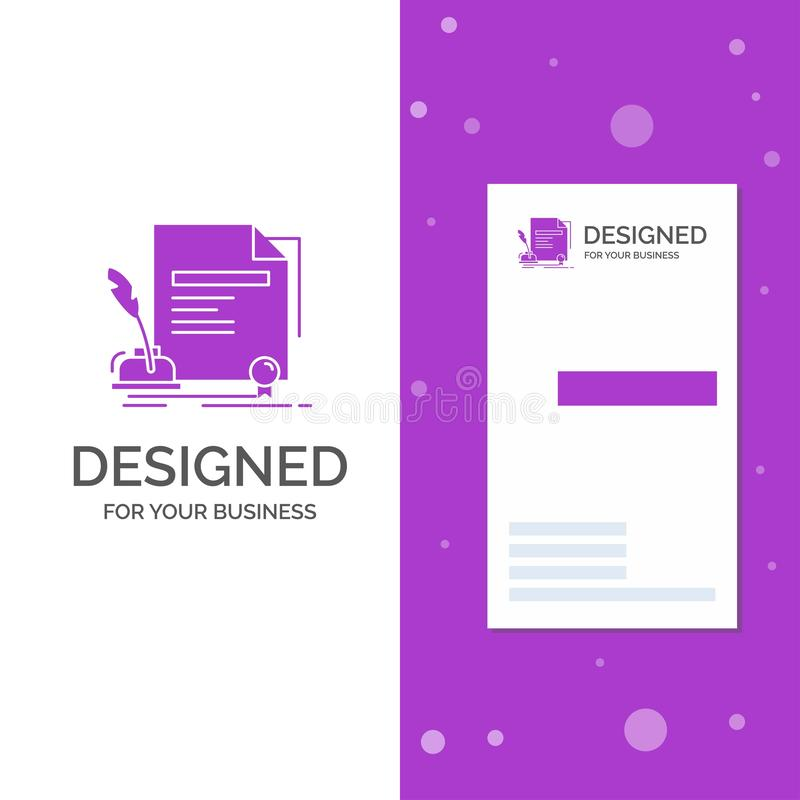 Business Logo for contract, paper, document, agreement, award. Vertical Purple Business / Visiting Card template. Creative. Background vector illustration stock illustration