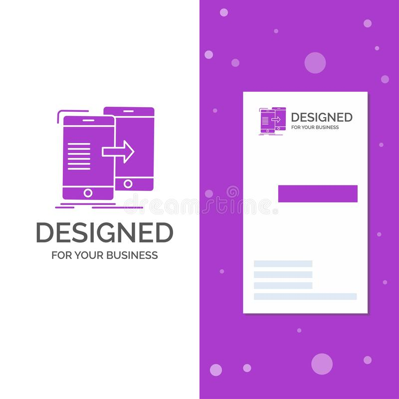 Business Logo for data, Sharing, sync, synchronization, syncing. Vertical Purple Business / Visiting Card template. Creative. Background vector illustration royalty free illustration