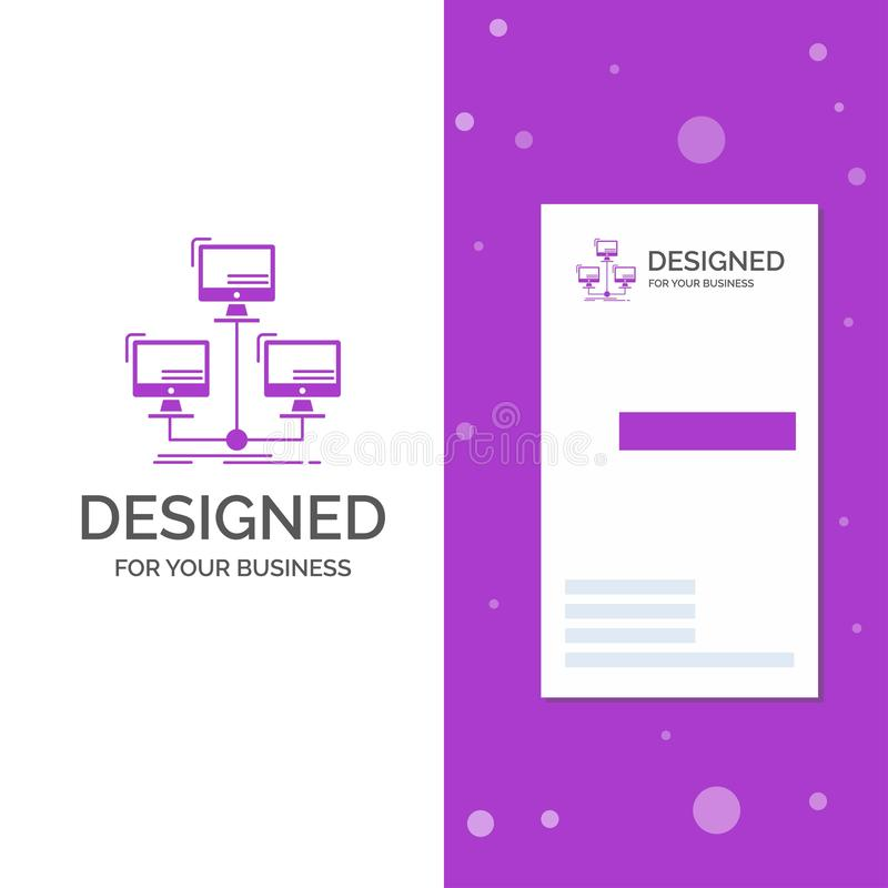 Business Logo for database, distributed, connection, network, computer. Vertical Purple Business / Visiting Card template. royalty free illustration