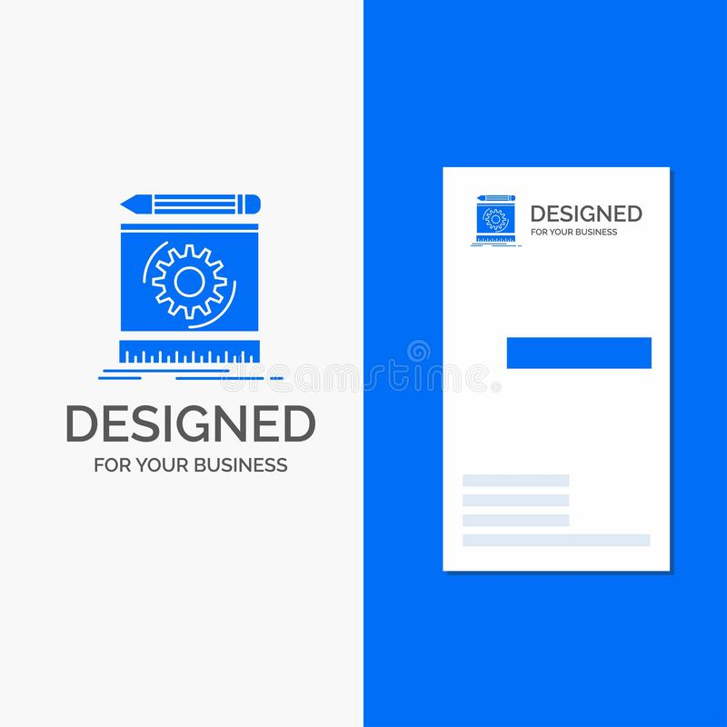 Business Logo for Draft, engineering, process, prototype, prototyping. Vertical Blue Business / Visiting Card template. Vector EPS10 Abstract Template stock illustration