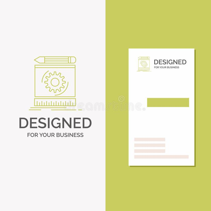 Business Logo for Draft, engineering, process, prototype, prototyping. Vertical Green Business / Visiting Card template. Creative. Background vector vector illustration
