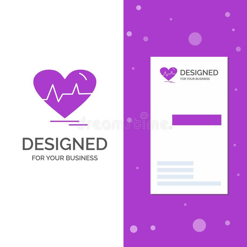 Business Logo for ecg, heart, heartbeat, pulse, beat. Vertical Purple Business / Visiting Card template. Creative background. Vector illustration. Vector EPS10 vector illustration