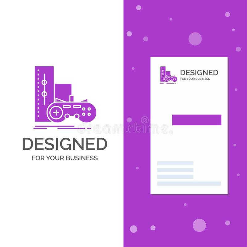 Business Logo for game, gamepad, joystick, play, playstation. Vertical Purple Business / Visiting Card template. Creative. Background vector illustration vector illustration