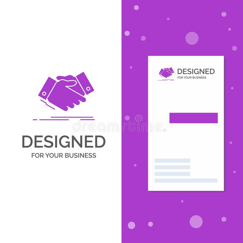 Business Logo for handshake, hand shake, shaking hand, Agreement, business. Vertical Purple Business / Visiting Card template. Creative background vector stock illustration