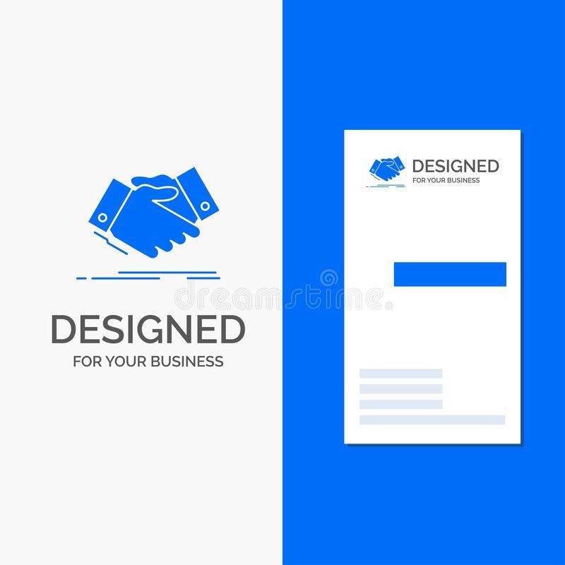 Business Logo for handshake, hand shake, shaking hand, Agreement, business. Vertical Blue Business / Visiting Card template. Vector EPS10 Abstract Template royalty free illustration