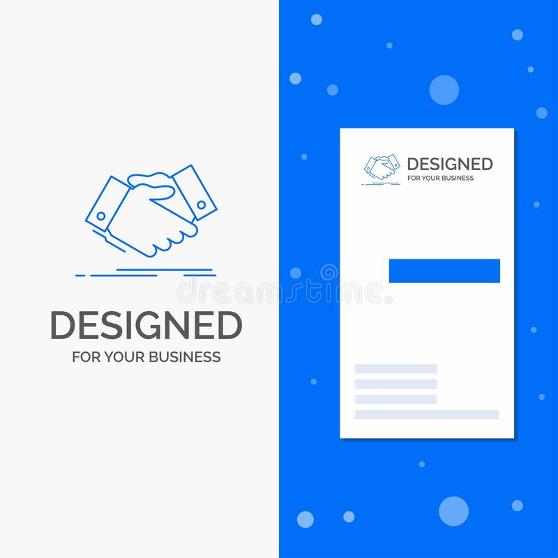 Business Logo for handshake, hand shake, shaking hand, Agreement, business. Vertical Blue Business / Visiting Card template. Vector EPS10 Abstract Template vector illustration