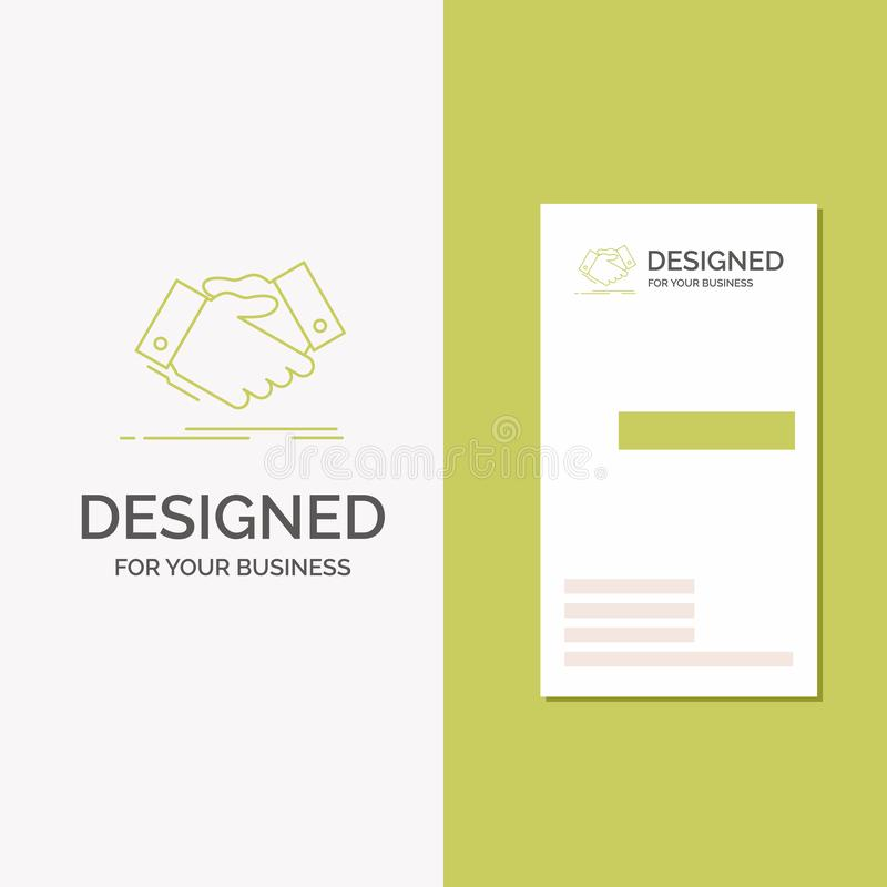 Business Logo for handshake, hand shake, shaking hand, Agreement, business. Vertical Green Business / Visiting Card template. Creative background vector vector illustration