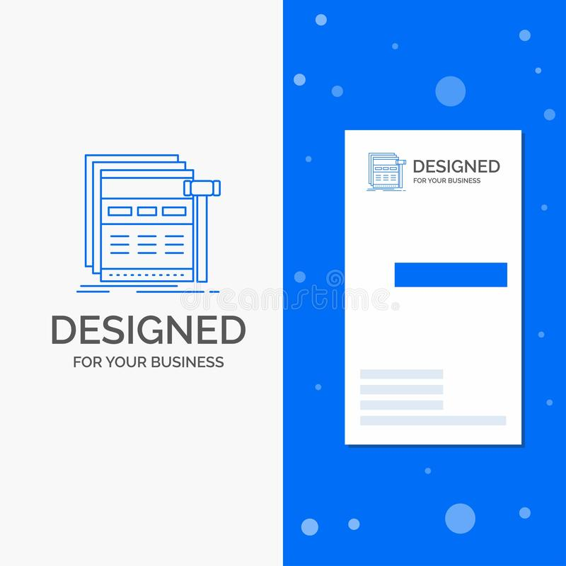 Business Logo for Internet, page, web, webpage, wireframe. Vertical Blue Business / Visiting Card template. Vector EPS10 Abstract Template background stock illustration