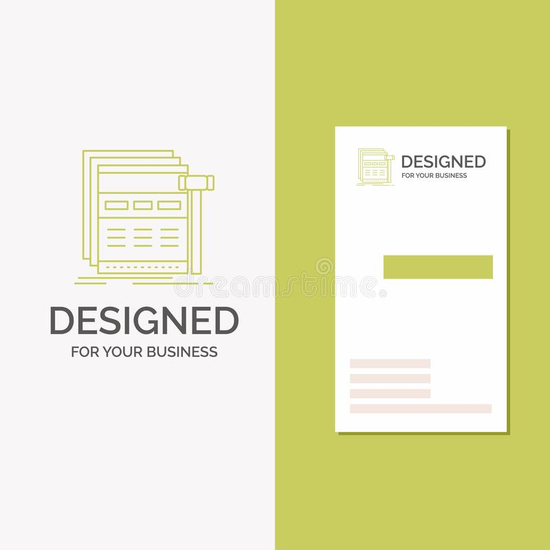 Business Logo for Internet, page, web, webpage, wireframe. Vertical Green Business / Visiting Card template. Creative background. Vector illustration. Vector vector illustration