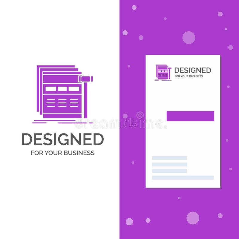 Business Logo for Internet, page, web, webpage, wireframe. Vertical Purple Business / Visiting Card template. Creative background. Vector illustration. Vector stock illustration