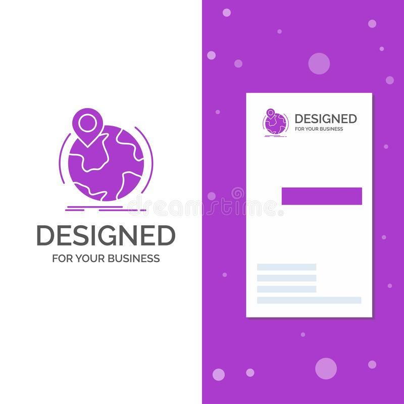 Business Logo for location, globe, worldwide, pin, marker. Vertical Purple Business / Visiting Card template. Creative background. Vector illustration. Vector royalty free illustration