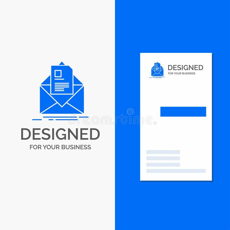 Business Logo for mail, contract, letter, email, briefing. Vertical Blue Business / Visiting Card template royalty free illustration