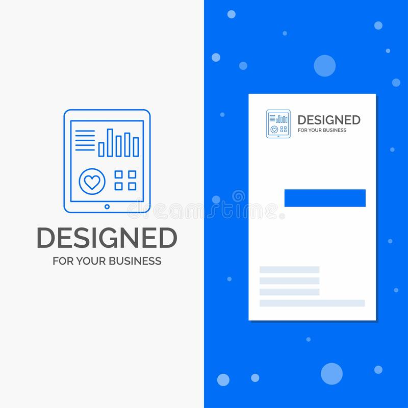 Business Logo for monitoring, health, heart, pulse, Patient Report. Vertical Blue Business / Visiting Card template stock illustration