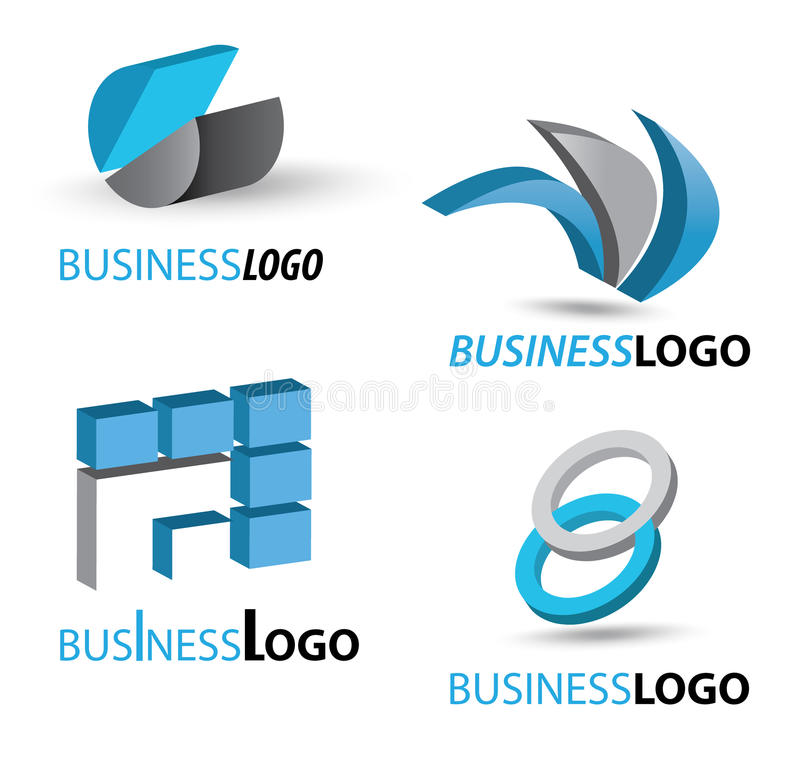 Business logo set. Set of three dimensional business logos. Eps file available royalty free illustration