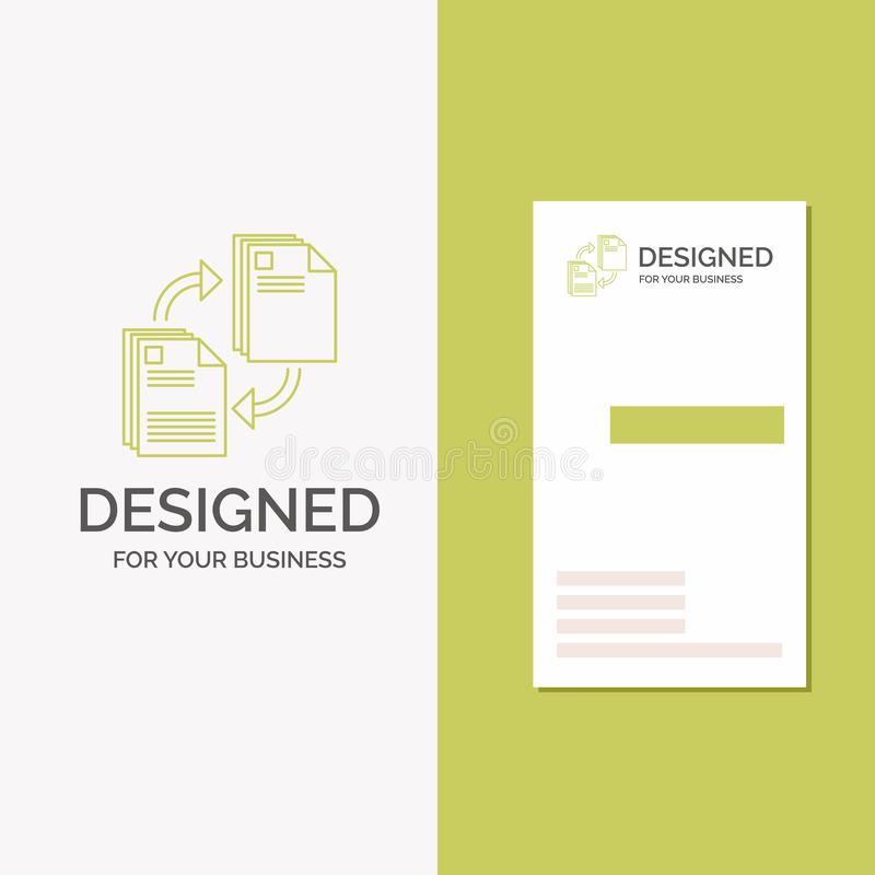 Business Logo for sharing, share, file, document, copying. Vertical Green Business / Visiting Card template. Creative background. Vector illustration. Vector royalty free illustration