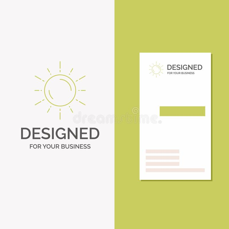 Business Logo for sun, space, planet, astronomy, weather. Vertical Green Business / Visiting Card template. Creative background stock illustration