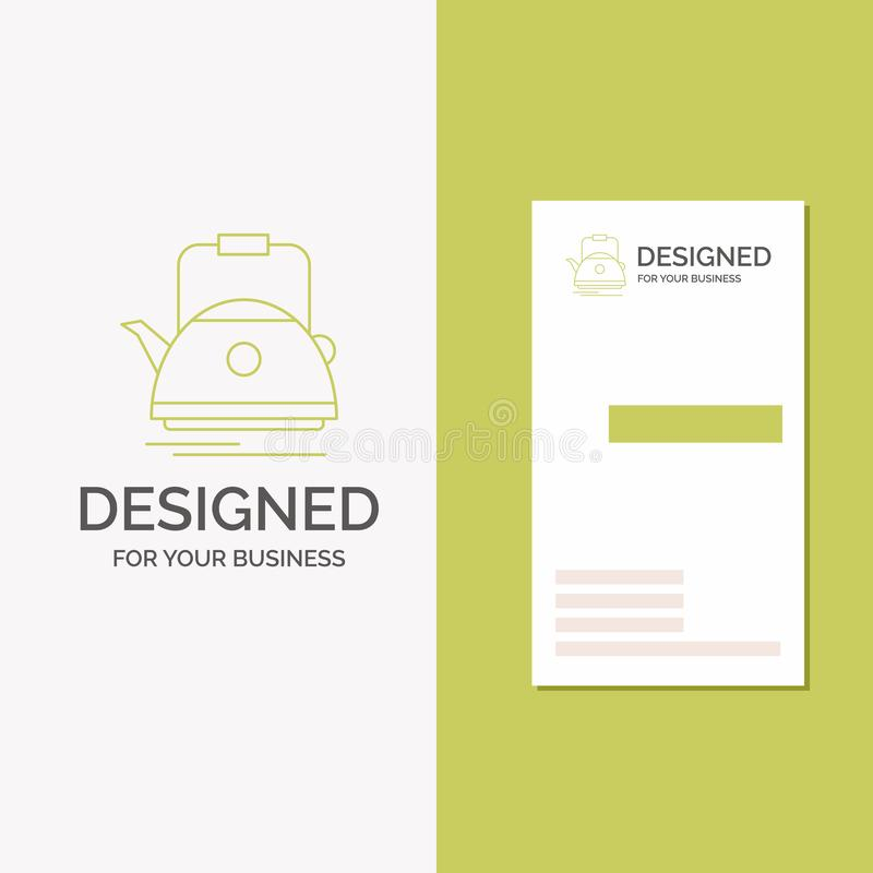 Business Logo for Tea, kettle, teapot, camping, pot. Vertical Green Business / Visiting Card template. Creative background vector royalty free illustration