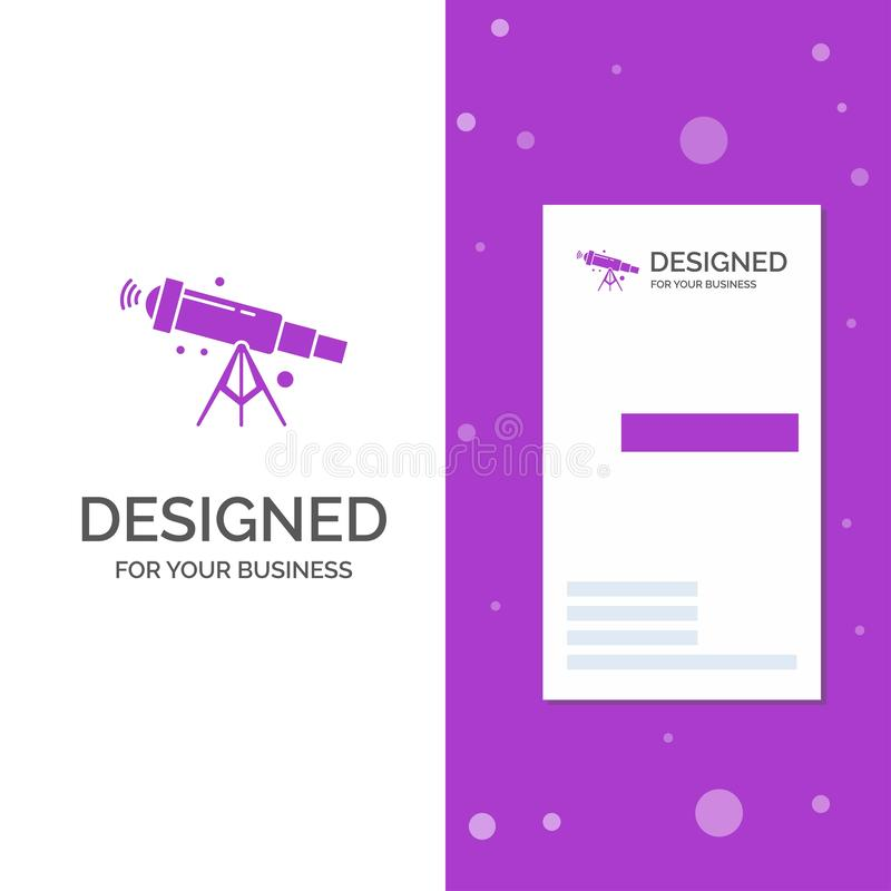 Business Logo for telescope, astronomy, space, view, zoom. Vertical Purple Business / Visiting Card template. Creative background. Vector illustration. Vector stock illustration