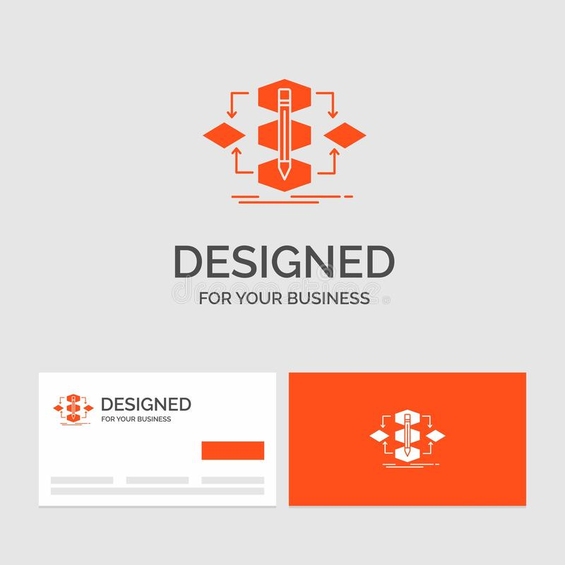 Business logo template for Algorithm, design, method, model, process. Orange Visiting Cards with Brand logo template. Vector EPS10 Abstract Template royalty free illustration