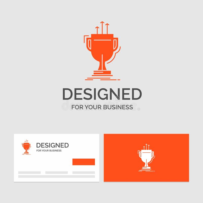 Business logo template for award, competitive, cup, edge, prize. Orange Visiting Cards with Brand logo template. Vector EPS10 Abstract Template background vector illustration