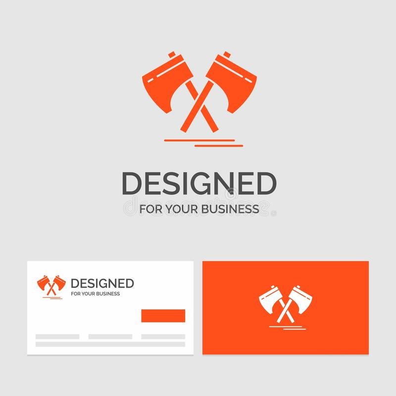 Business logo template for Axe, hatchet, tool, cutter, viking. Orange Visiting Cards with Brand logo template. Vector EPS10 Abstract Template background royalty free illustration