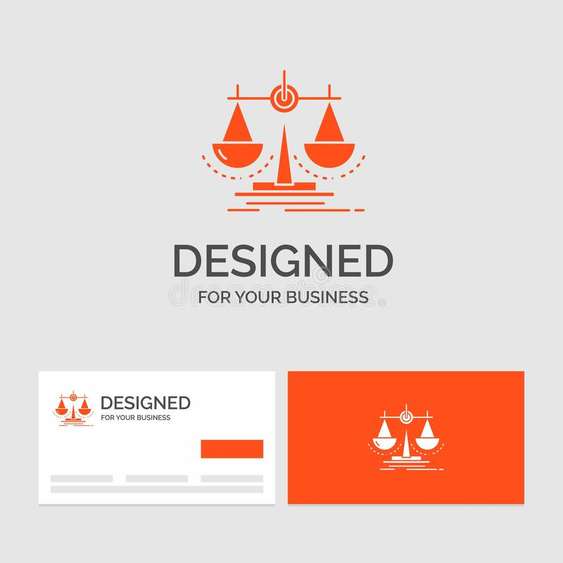 Business logo template for Balance, decision, justice, law, scale. Orange Visiting Cards with Brand logo template. Vector EPS10 Abstract Template background vector illustration
