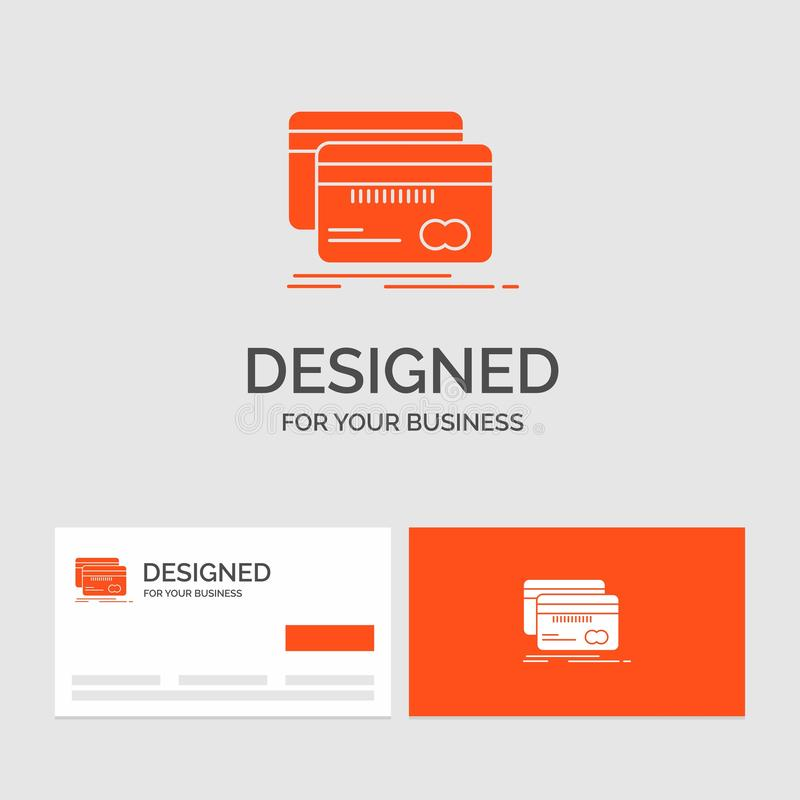Business logo template for Banking, card, credit, debit, finance. Orange Visiting Cards with Brand logo template stock illustration