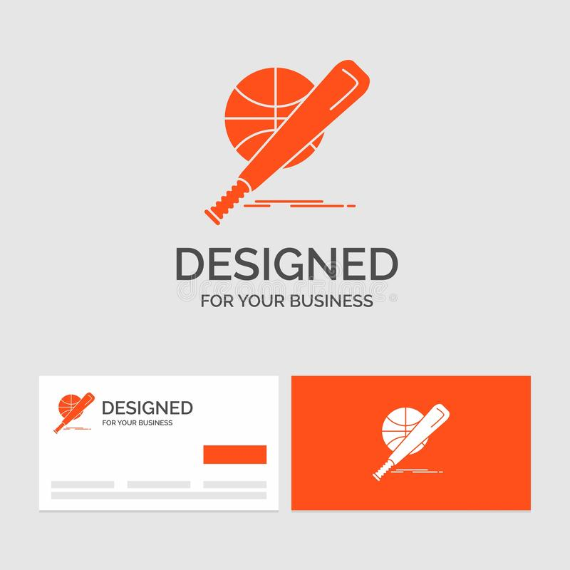 Business logo template for baseball, basket, ball, game, fun. Orange Visiting Cards with Brand logo template royalty free illustration