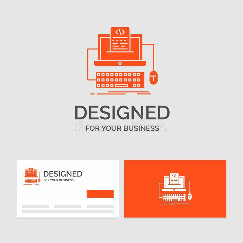 Business logo template for Code, coding, computer, monoblock, screen. Orange Visiting Cards with Brand logo template. Vector EPS10 Abstract Template royalty free illustration