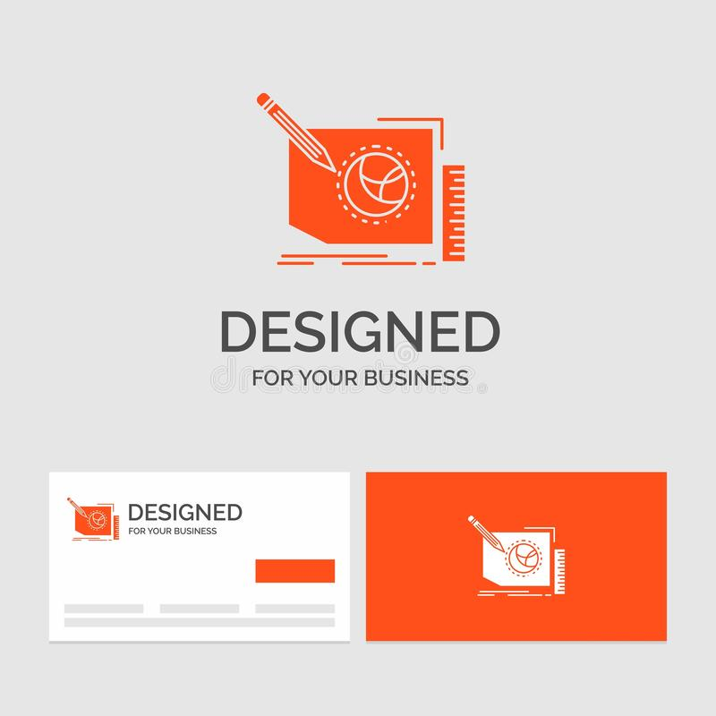 Business logo template for Content, design, frame, page, text. Orange Visiting Cards with Brand logo template. Vector EPS10 Abstract Template background stock illustration