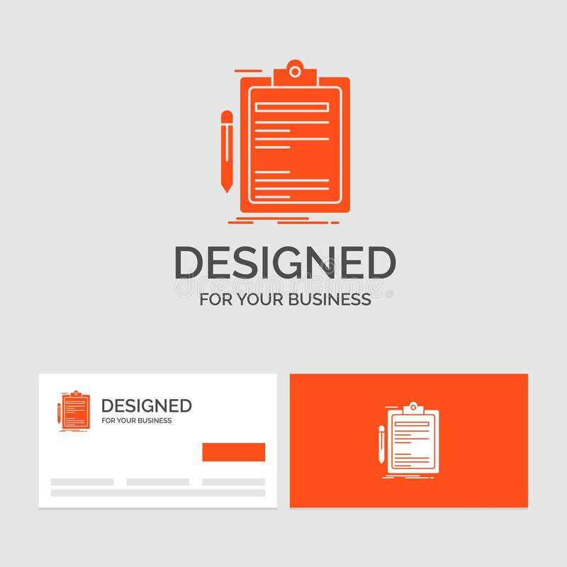 Business logo template for Contract, check, Business, done, clip board. Orange Visiting Cards with Brand logo template. Vector EPS10 Abstract Template vector illustration