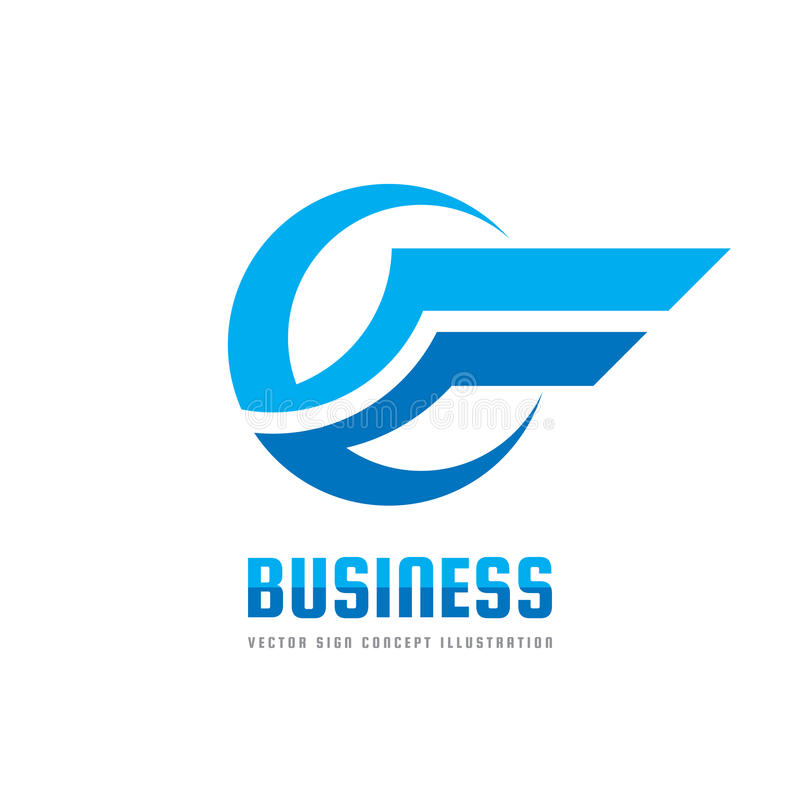Business logo template creative illustration. Wing abstract vector sign. Transportation icon. Circle and stripes design element.  stock illustration