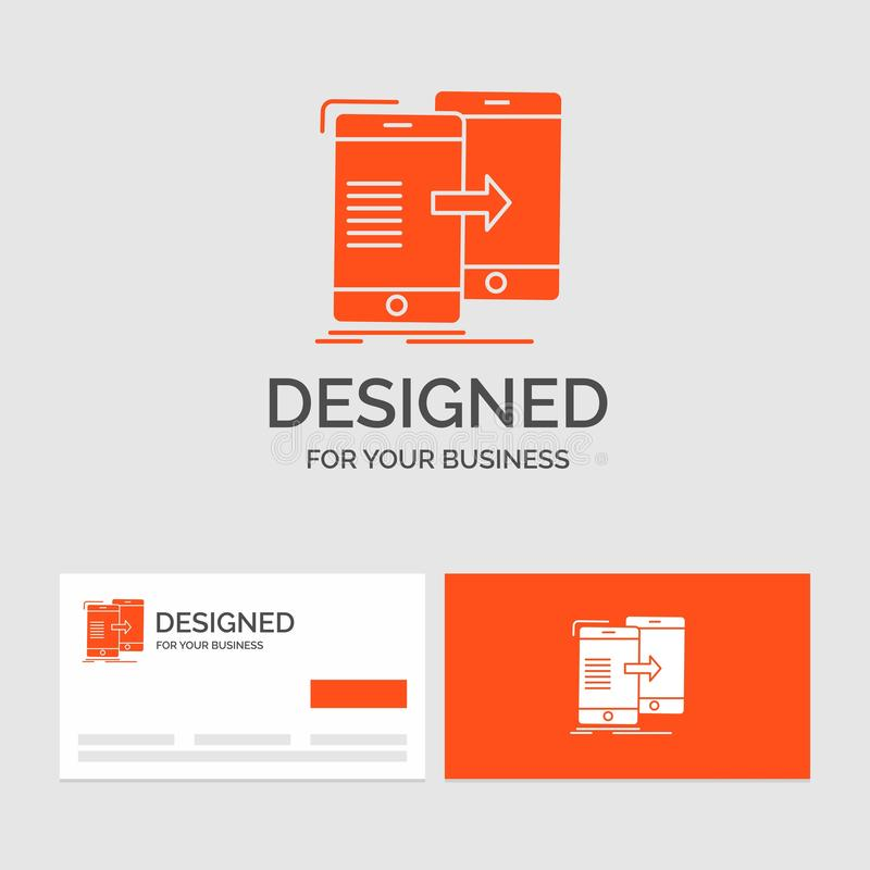 Business logo template for data, Sharing, sync, synchronization, syncing. Orange Visiting Cards with Brand logo template. Vector EPS10 Abstract Template royalty free illustration