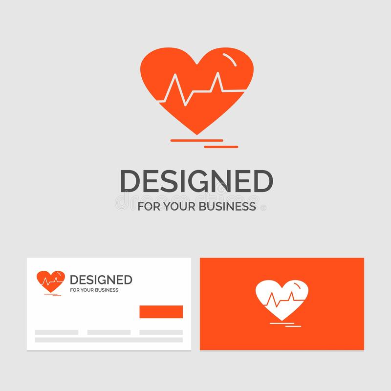 Business logo template for ecg, heart, heartbeat, pulse, beat. Orange Visiting Cards with Brand logo template. Vector EPS10 Abstract Template background stock illustration