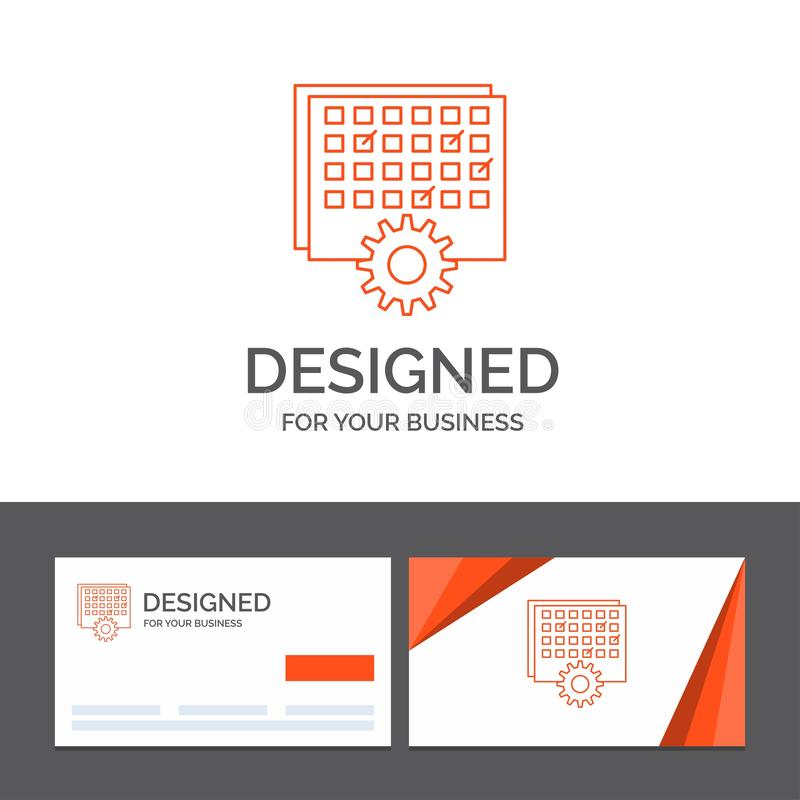 Business logo template for Event, management, processing, schedule, timing. Orange Visiting Cards with Brand logo template. Vector EPS10 Abstract Template vector illustration