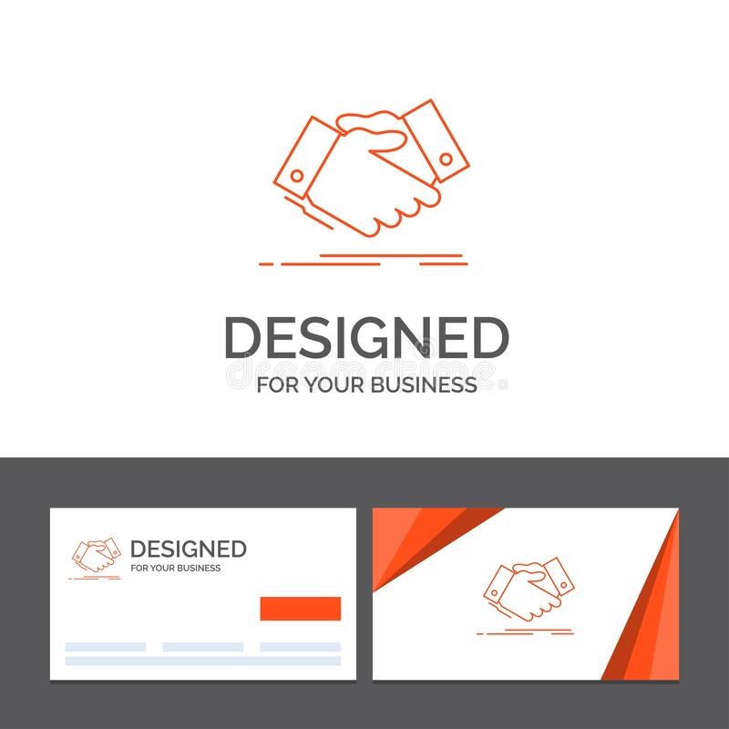 Business logo template for handshake, hand shake, shaking hand, Agreement, business. Orange Visiting Cards with Brand logo. Template. Vector EPS10 Abstract royalty free illustration