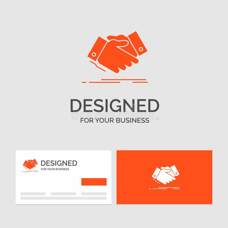 Business logo template for handshake, hand shake, shaking hand, Agreement, business. Orange Visiting Cards with Brand logo stock illustration