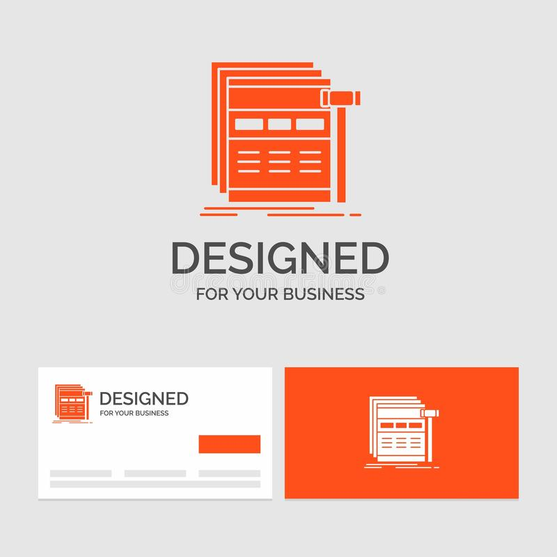Business logo template for Internet, page, web, webpage, wireframe. Orange Visiting Cards with Brand logo template. Vector EPS10 Abstract Template background royalty free illustration